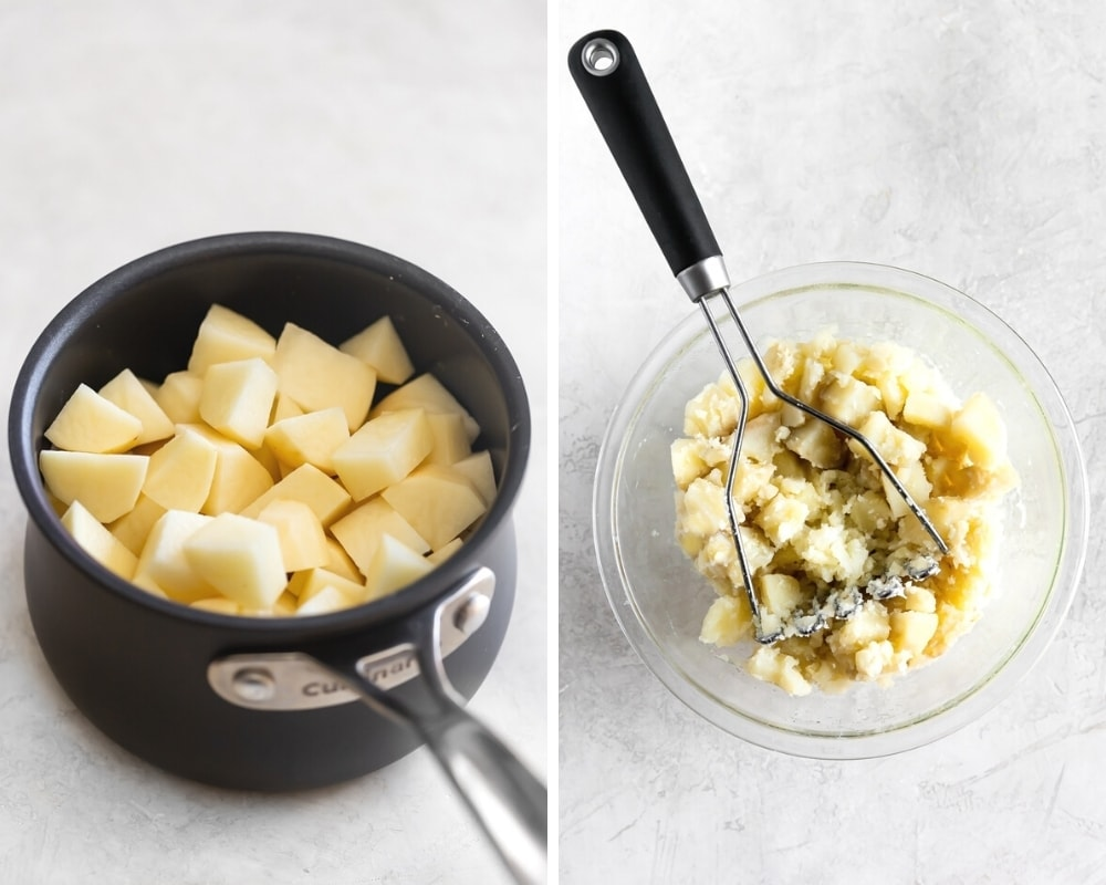 chopped Russet potatoes in a saucepan before steaming and potatoes in a large clear bowl being mashed after steaming