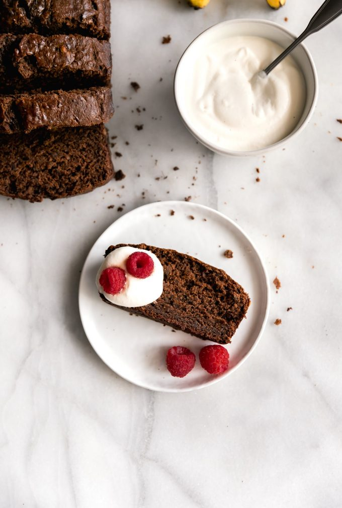 Moist Chocolate Banana Bread.Super moist, rich and deliciously sweet chocolate banana bread made with real cocoa without chocolate chips! Perfect for breakfast or snack.
