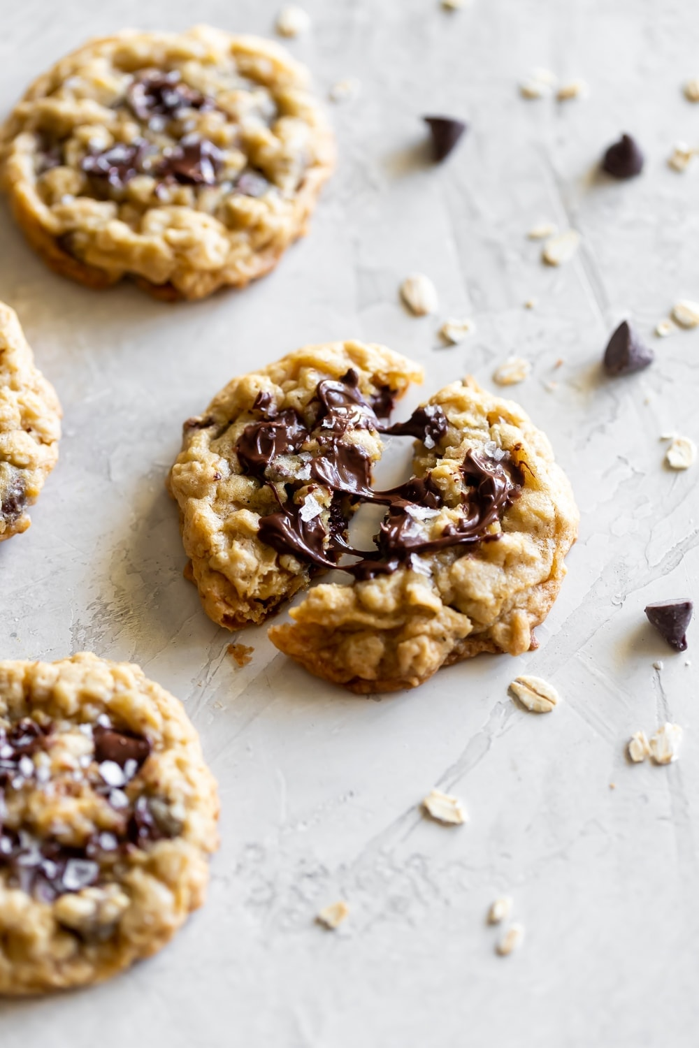 melted chocolate chips in oatmeal chocolate chip cookies
