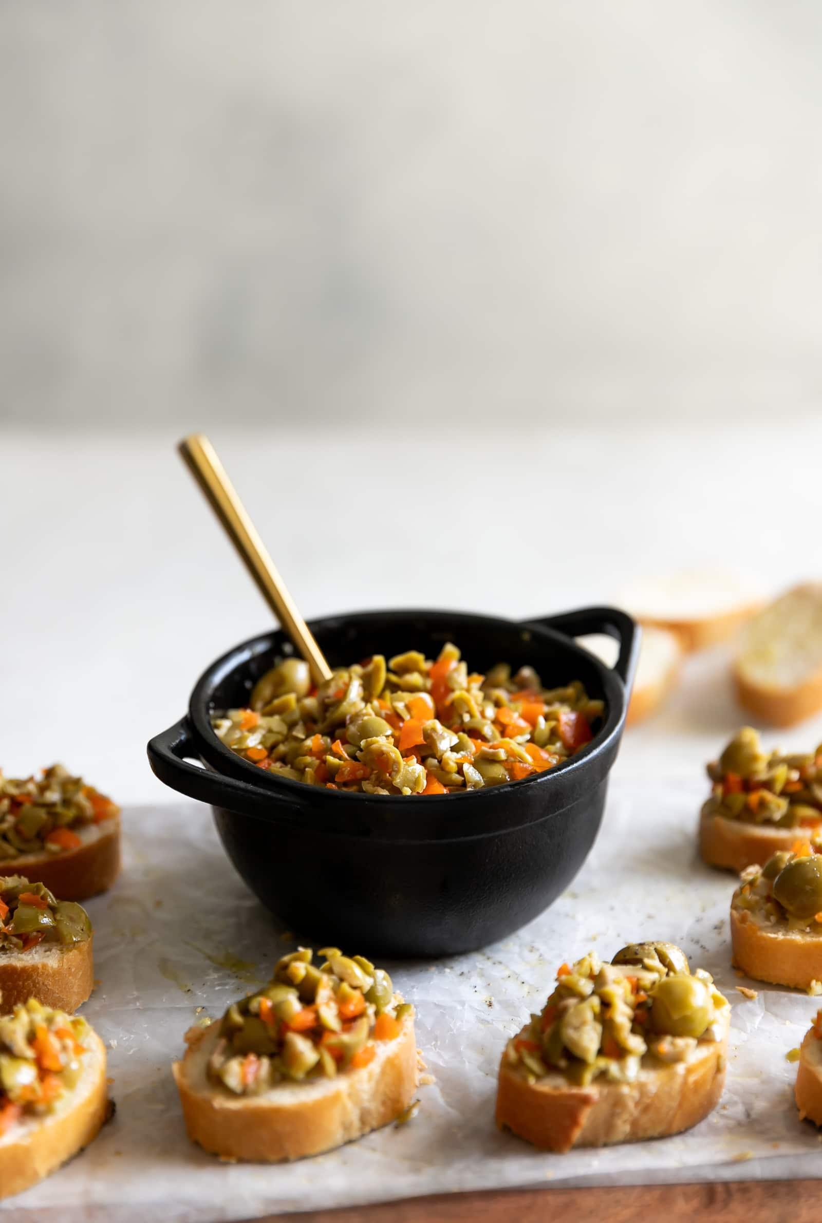 5-Ingredient Olive Bruschetta Crostini - A Sassy Spoon