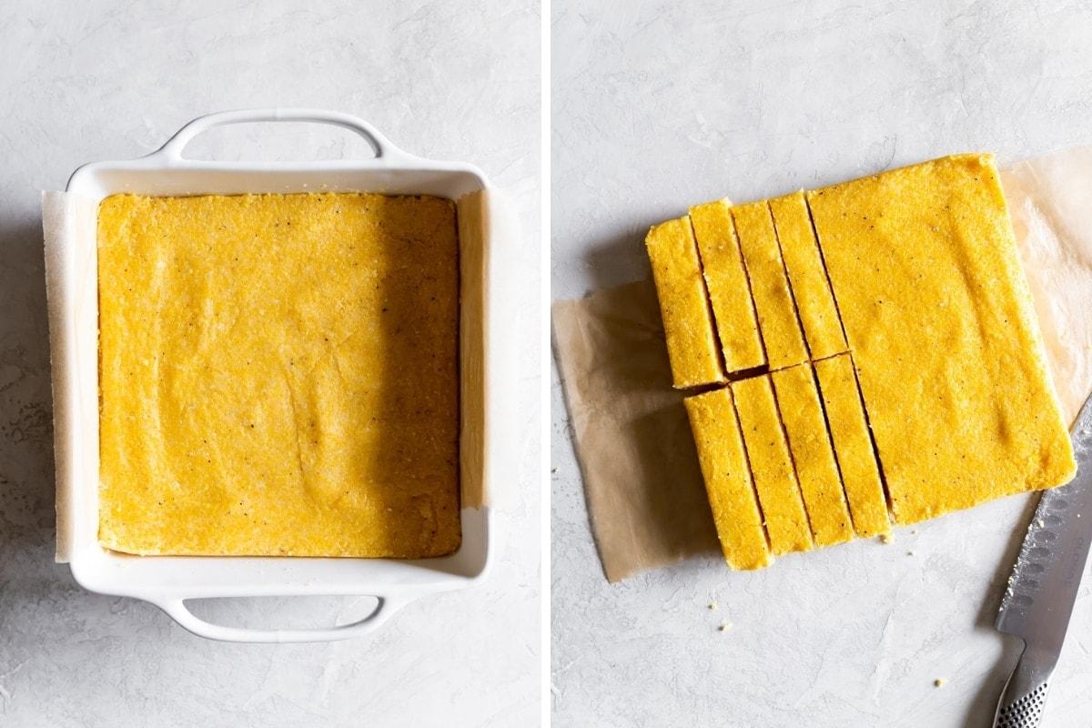 polenta inside a baking dish then cut into fries
