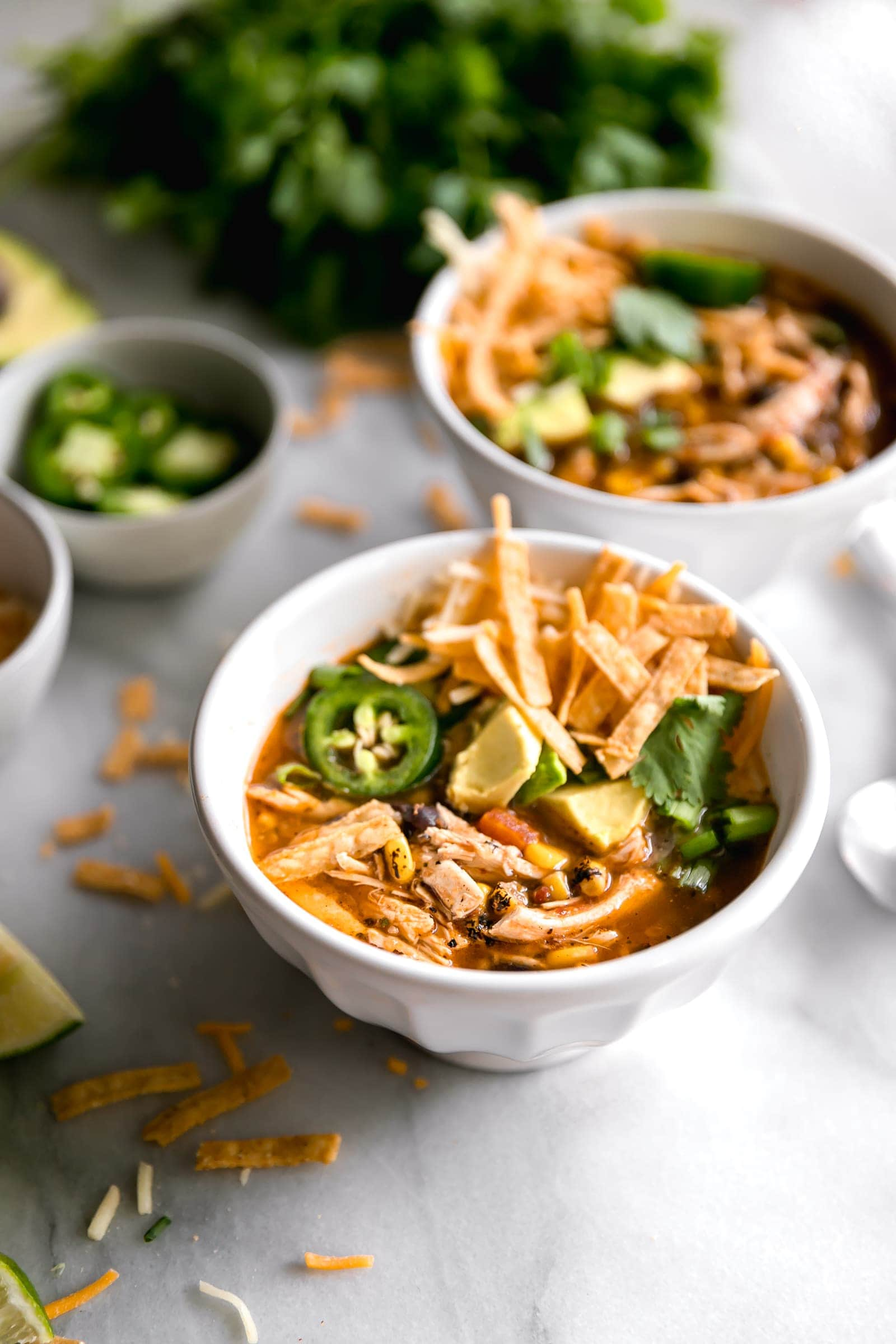Chicken tortilla soup served with tortilla strips