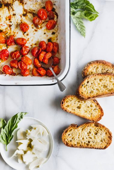 Roasted Cherry Tomato Caprese Toast