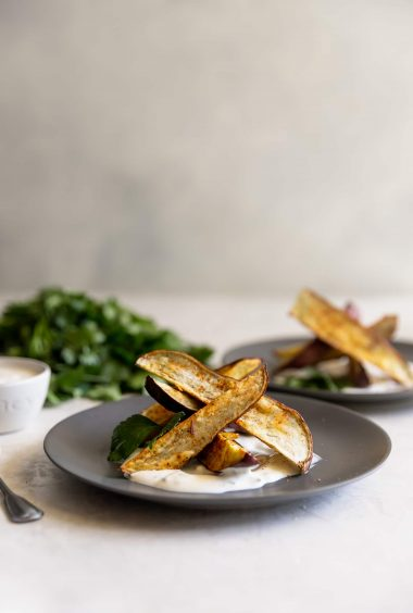 Roasted Japanese Sweet Potato Fries With Charred Scallion Creme Fraiche