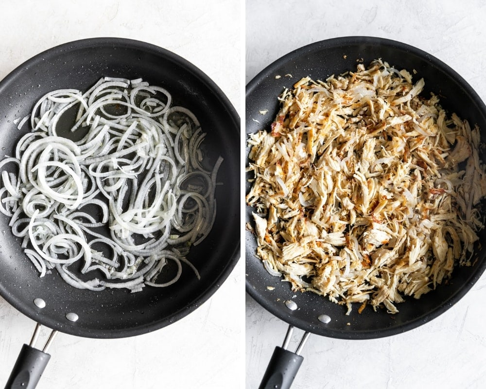 the process of making cuban shredded chicken white onions in a pan shredded chicken in a pan