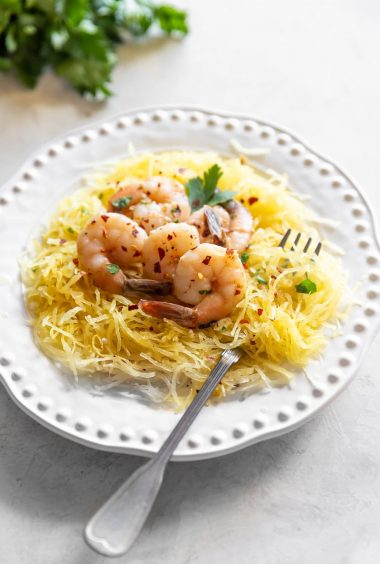 Low Carb Shrimp Scampi Spaghetti Squash