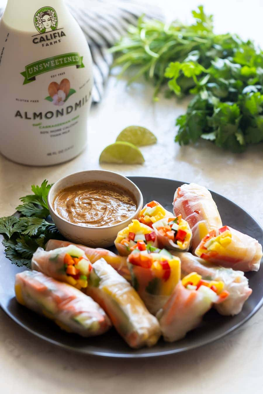 vegetable spring rolls with spicy peanut sauce and califia unsweetened almond milk