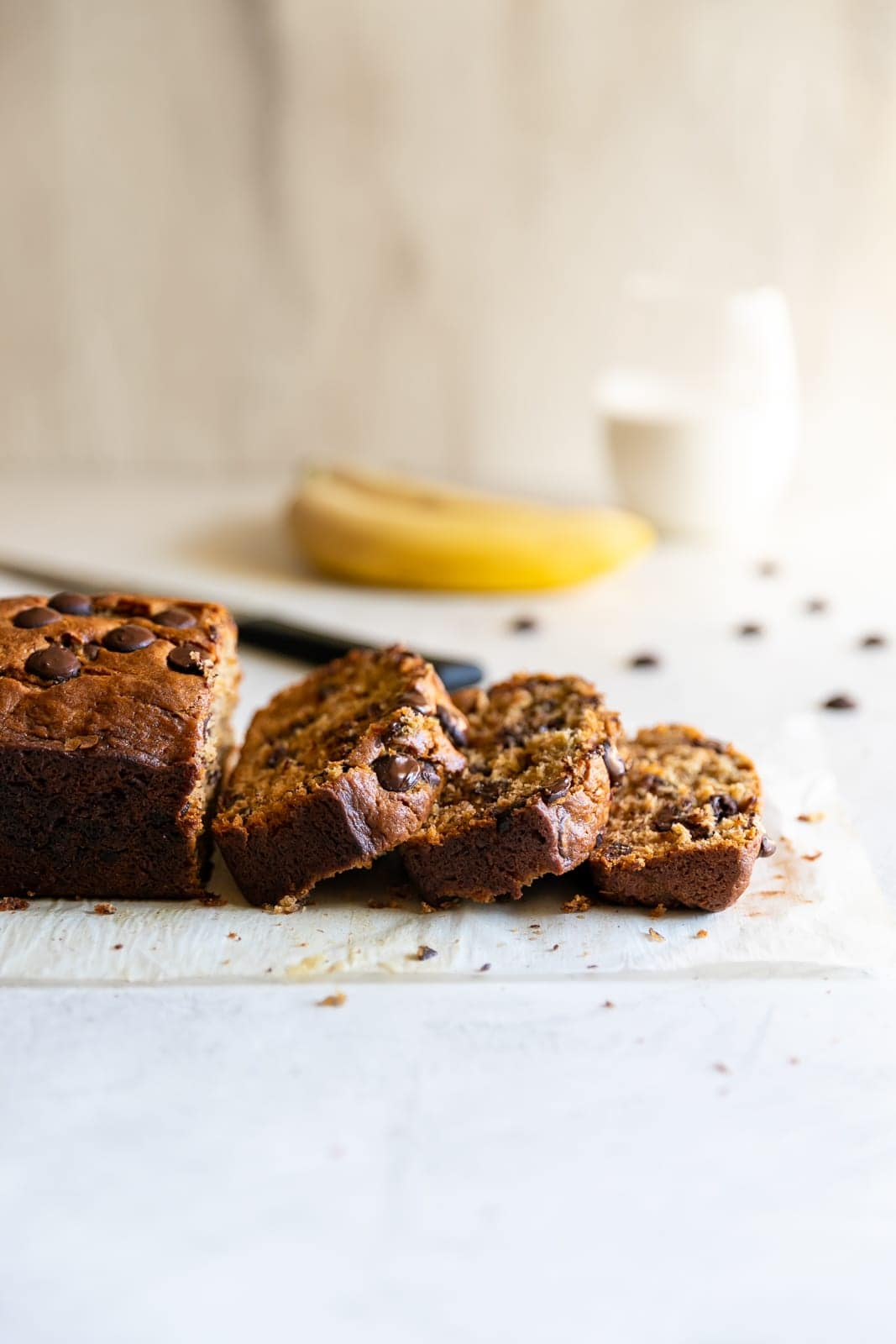 Delicious display of chocolate chip banana bread slices