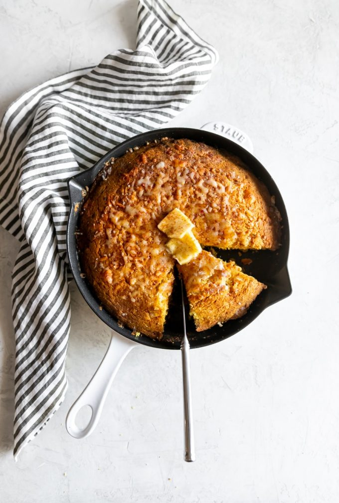 cast iron pan with sweet and spicy honey cornbread
