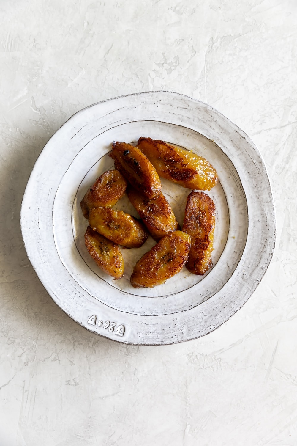 top view of cooked sweet plantains (maduros)