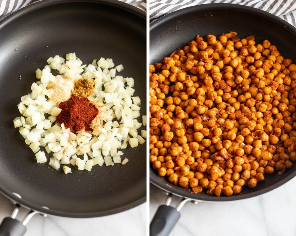 collage of onions and spices in a skillet and chipotle chickpeas in skillet