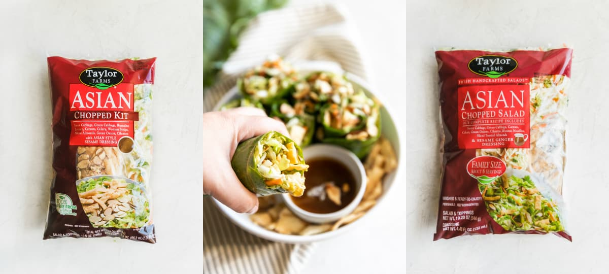 Simple collard green wraps made with avocado, savory green cabbage, carrots, celery, green onions, cilantro, toasted slivered almonds, crisp wontons, and sweet sesame ginger dressing!