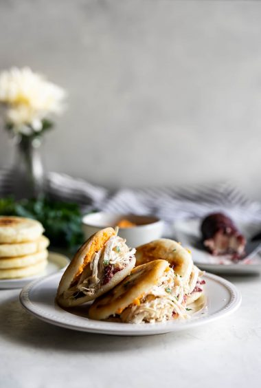 Leftover Turkey Arepas with Cranberry Goat Cheese