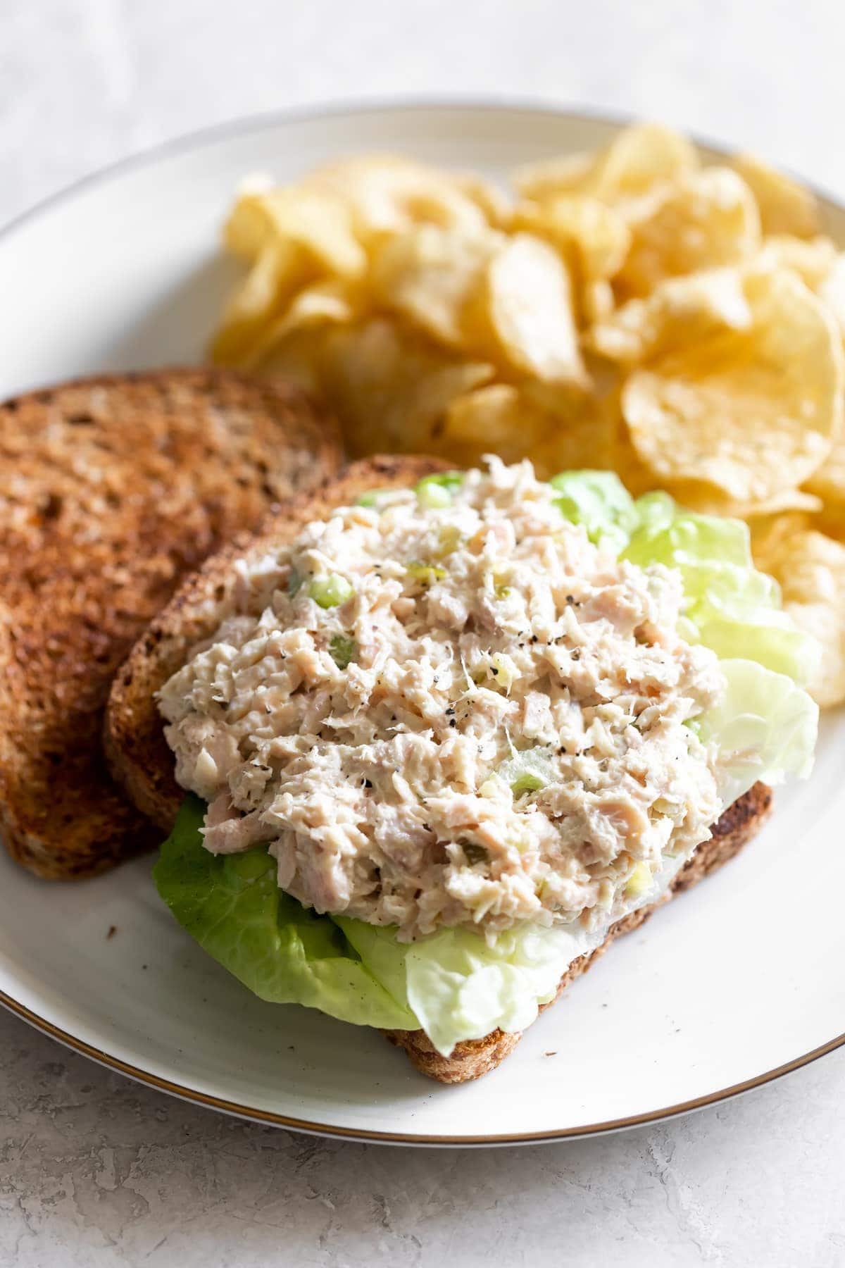 tuna salad sandwich on boston lettuce with chips on a white plate