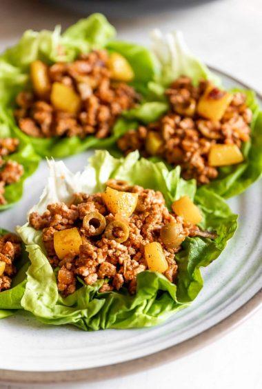 Roasted Butternut Squash + Turkey Picadillo Lettuce Wraps
