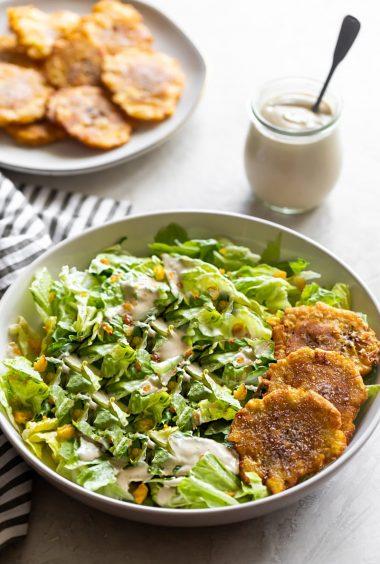 Vegan Cuban Caesar Salad with Plantain Croutons